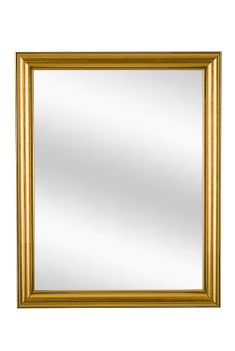 Moulding - Trim「Gold Picture Frame with Mirror, Narrow Modern, White Isolated」:スマホ壁紙(14)