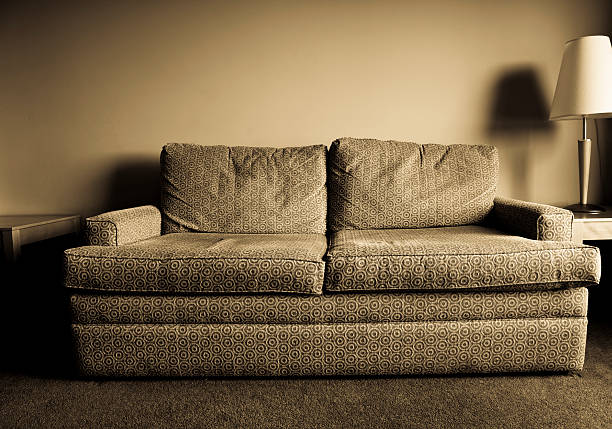 Greyscale old worn out hotel sofa in retro pattern:スマホ壁紙(壁紙.com)