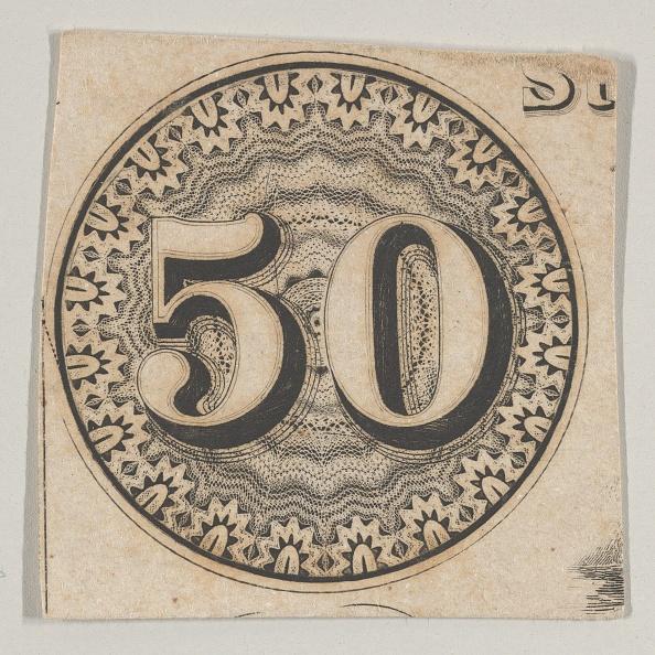 Number「Banknote Motif: The Number 50 Against An Ornamental Lathe Work Rondel Resembling La」:写真・画像(13)[壁紙.com]