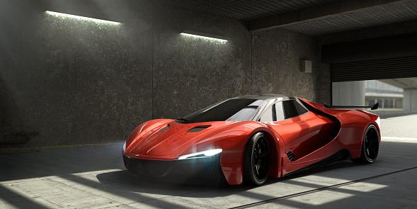Motor Vehicle「Generic Red Sports Car Parked In Empty Garage」:スマホ壁紙(4)