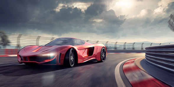 Driving「Generic Red Sports Car Cornering Around Bend In Racetrack」:スマホ壁紙(8)