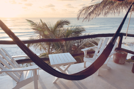 Adirondack Chair「Hammock with chairs and table overlooking ocean」:スマホ壁紙(6)