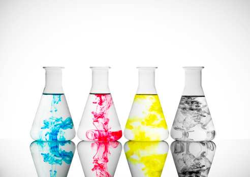 Printout「Four lab glass bottles with ink in CMYK colors」:スマホ壁紙(7)