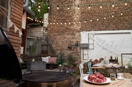 Germany「Barbecue in a backyard, steaks on a plate」:スマホ壁紙(9)