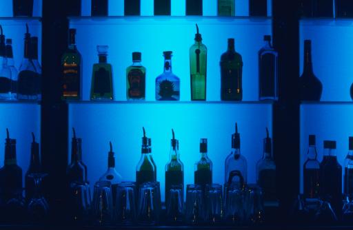 Alcohol - Drink「Liquor bottles on bar shelves」:スマホ壁紙(10)