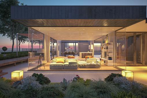 Living Room「Modern House Outdoors At Night」:スマホ壁紙(7)