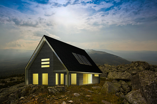 Remote Location「Modern house in remote rocky landscape」:スマホ壁紙(17)