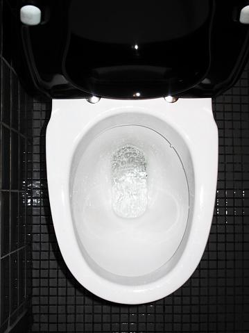 Public Restroom「Toilet Bowl, High Angle View」:スマホ壁紙(3)