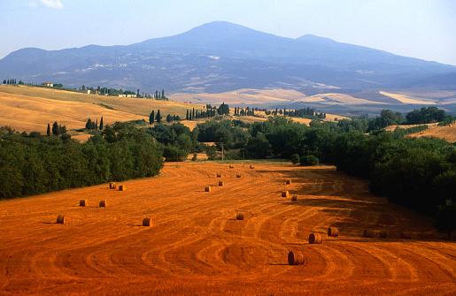 Monte Amiata「Hay field with Monte Amiata behind, near Pienza., Tuscany, Italy, Europe」:スマホ壁紙(19)