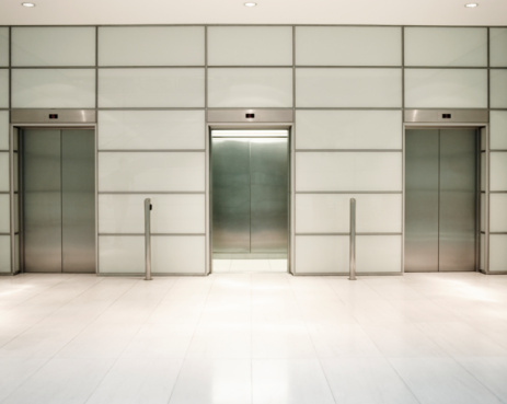 Tiled Floor「Three lifts in office building」:スマホ壁紙(10)