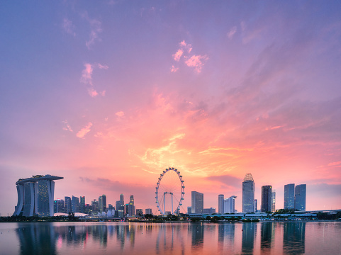 Downtown District「Singapore Skyline sunset」:スマホ壁紙(3)
