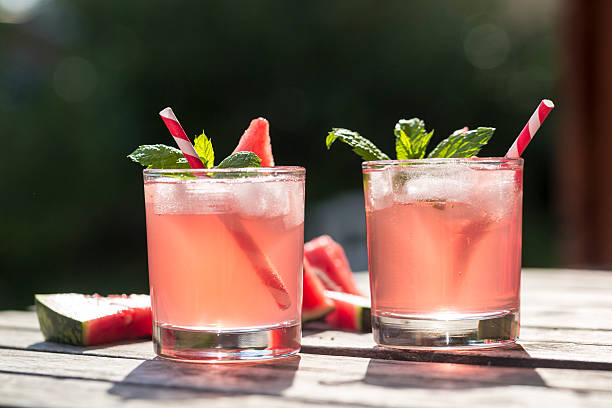 Watermelon-Hugo, Mojito in glasses with drinking straw:スマホ壁紙(壁紙.com)