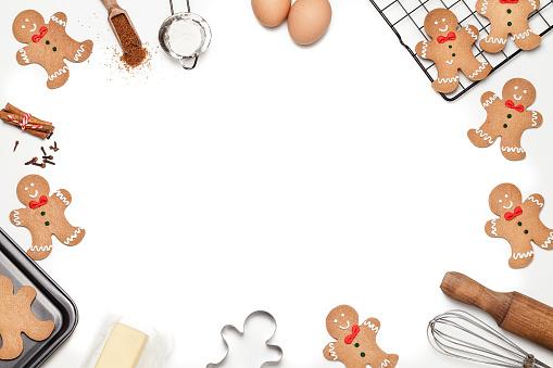 Gingerbread Cookie「Christmas backgrounds: Christmas cookies ingredients frame」:スマホ壁紙(3)