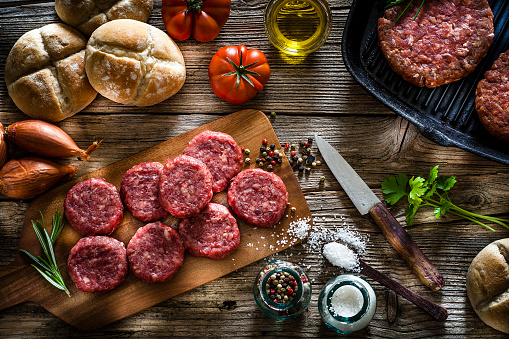 Cast Iron「Raw hamburger patties with ingredients shot from above」:スマホ壁紙(13)