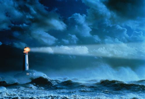 Storm「Lighthouse casting beam of light over stormy sea (Enhancement)」:スマホ壁紙(16)
