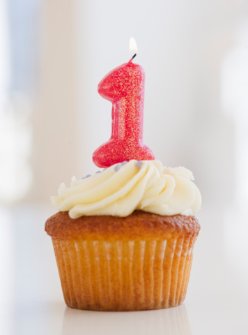 Number「Lit candle on cupcake for first birthday celebration」:スマホ壁紙(8)