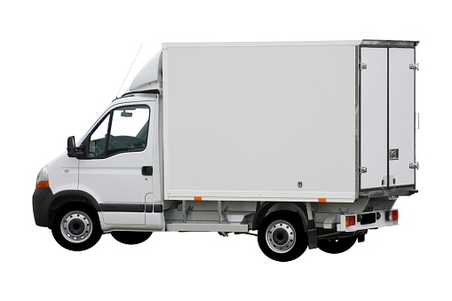 Side View「White delivery truck with box shape」:スマホ壁紙(8)