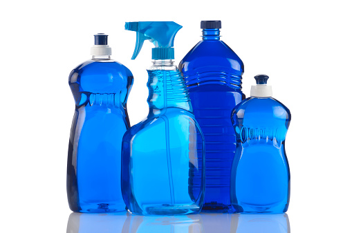 Chemical「Bottles of blue cleaning products」:スマホ壁紙(15)