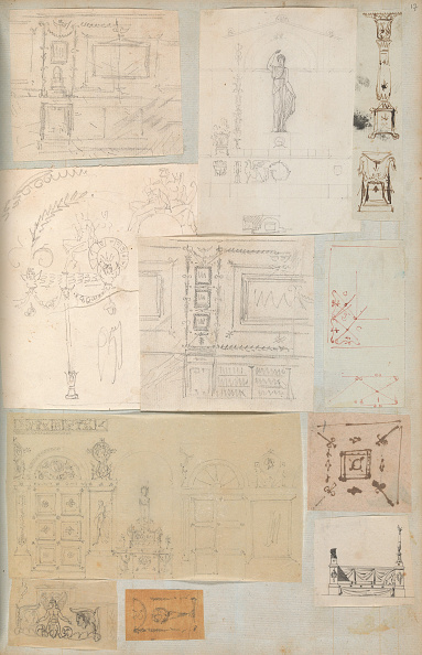 Model House「Page From A Scrapbook Containing Drawings And Several Prints Of Architecture」:写真・画像(4)[壁紙.com]