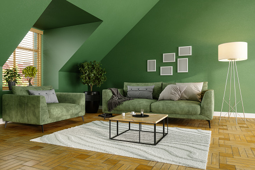 Velvet「Green Living Room With Green Sofa, Coffee Tables and Plants」:スマホ壁紙(1)