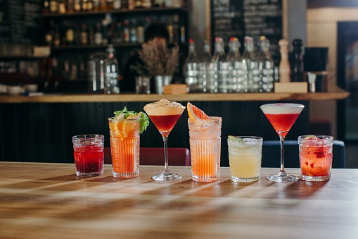Drink「Selection of cocktails on a bar counter」:スマホ壁紙(5)