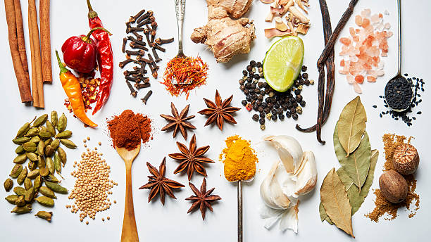 A selection of spices on a white background:スマホ壁紙(壁紙.com)