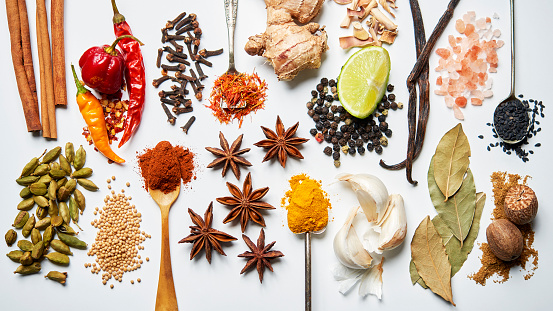 Spice「A selection of spices on a white background」:スマホ壁紙(0)