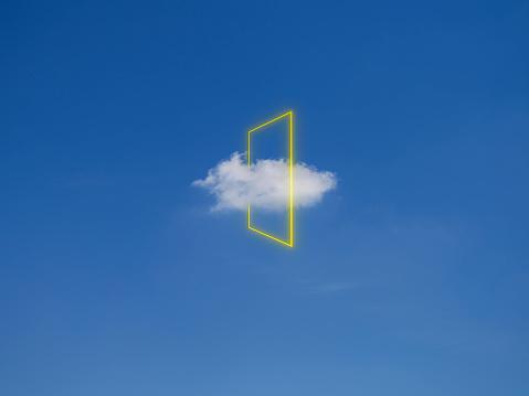 Connection「Yellow light rectangle around cloud, digital composite」:スマホ壁紙(5)