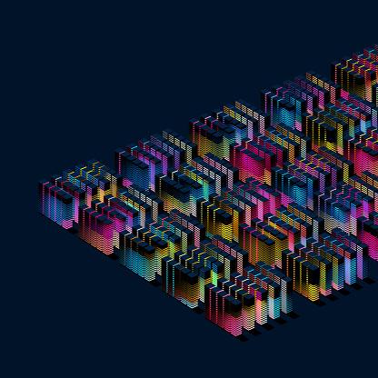 Quantum Computing「Glowing blocks」:スマホ壁紙(4)