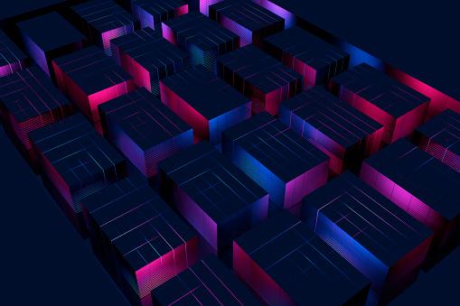 Quantum Computing「Glowing blocks」:スマホ壁紙(1)