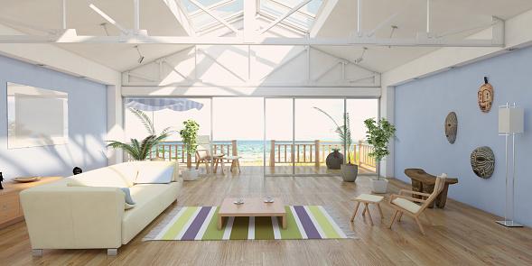 Sea「Cozy Home Interior At Seashore With Sea View」:スマホ壁紙(18)