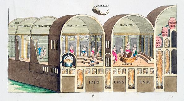 Roman Bath「Cross Section Of A Roman Baths 19th Century」:写真・画像(1)[壁紙.com]