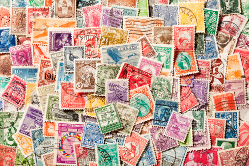 Postage Stamp「Background of old, canceled Postage Stamps. XXXL」:スマホ壁紙(17)