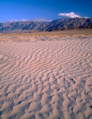 グレープバイン山「Textures in sand dunes at Mesquite Flats with Grapevine Mountains in distance, Death Valley National Park, California, USA」:スマホ壁紙(14)