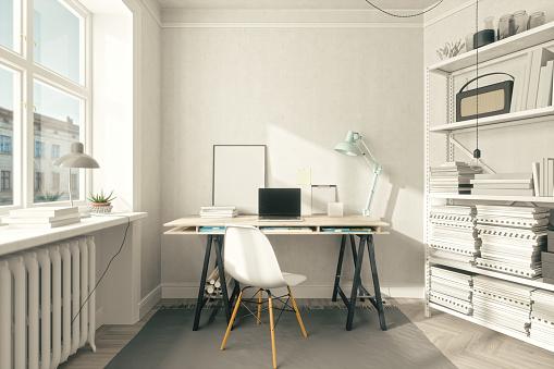 Laptop「Scandinavian Style Home Office Interior」:スマホ壁紙(7)