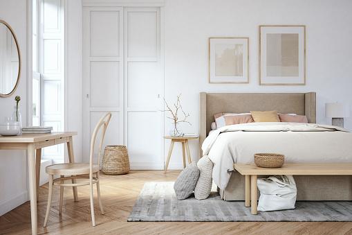 ピンク色「スカンジナビアの寝室のインテリア - ストック写真」:スマホ壁紙(4)