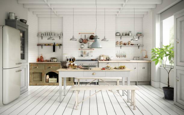 Scandinavian Domestic Kitchen and Dining Room:スマホ壁紙(壁紙.com)