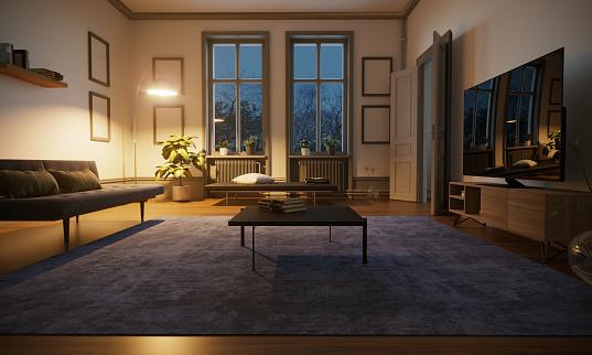 Night view「Scandinavian Style Living Room Interior」:スマホ壁紙(4)