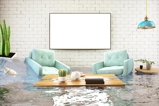 Leaking「Insurance Concept. House Flooded」:スマホ壁紙(10)
