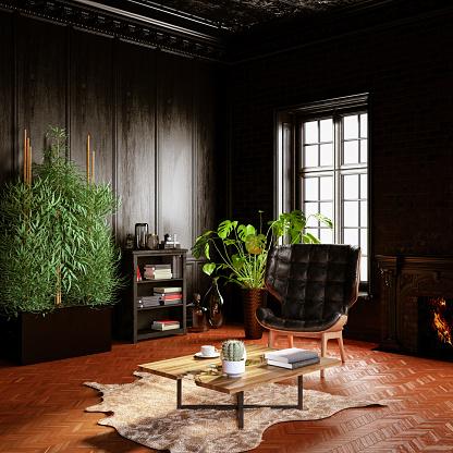 Antique「Classical Black Living Room」:スマホ壁紙(15)