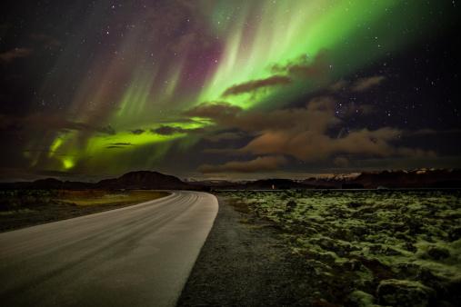 Volcanic Landscape「Aurora Borealis or Northern Lights, Iceland」:スマホ壁紙(14)