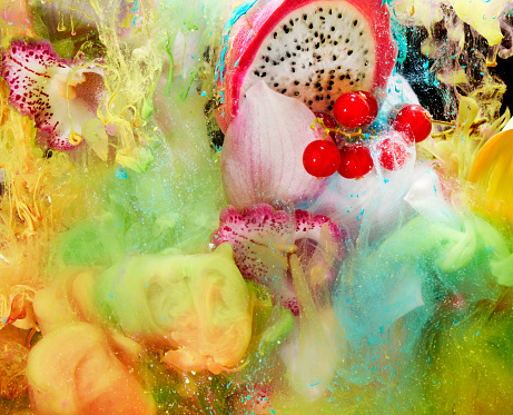 Tropical Flower「fruit, flowers and paint in water」:スマホ壁紙(13)