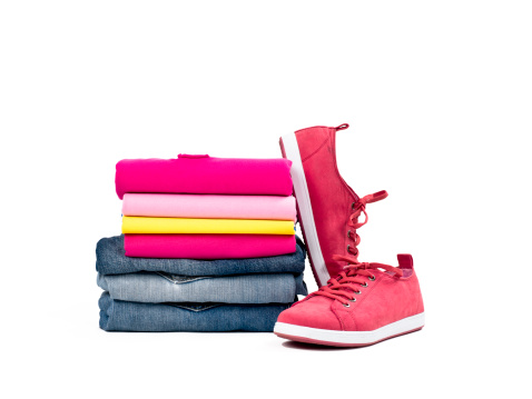 Laundry「Casual clothes folded in pile on white」:スマホ壁紙(0)