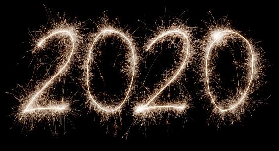 花火「2020 written with a sparkler」:スマホ壁紙(16)