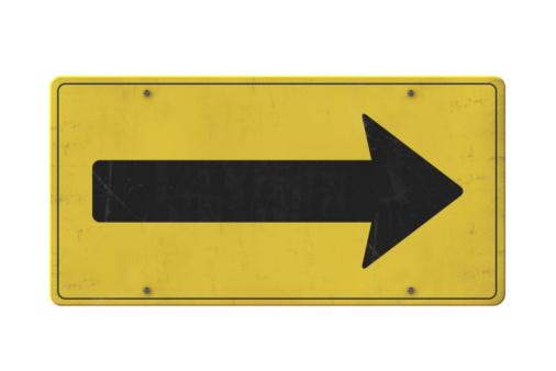 Traffic Arrow Sign「Isolated old yellow arrow sign」:スマホ壁紙(17)