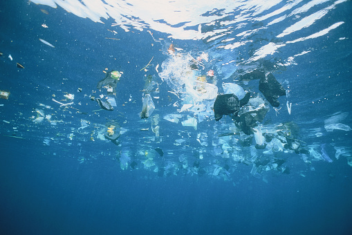 Dirty「Plastic garbage is swimming on rhe water surface」:スマホ壁紙(1)