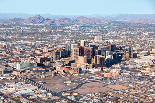 Helicopter Point of View「Downtown Phoenix Aerial View from airplane」:スマホ壁紙(15)