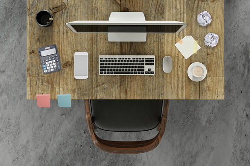 On Top Of「knolling scene business desk with a pc monitor and a chair」:スマホ壁紙(7)