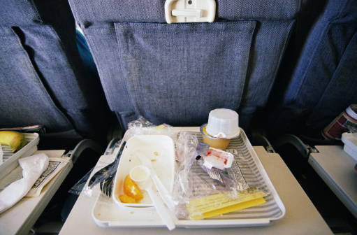 Passenger Cabin「Airline food wrappers and utensils on tray, elevated view」:スマホ壁紙(2)