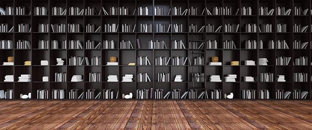 Hardcover Book「Black Bookshelves in the Library Panorama」:スマホ壁紙(7)